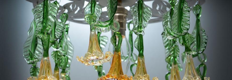 Amber flowers glass chandelier