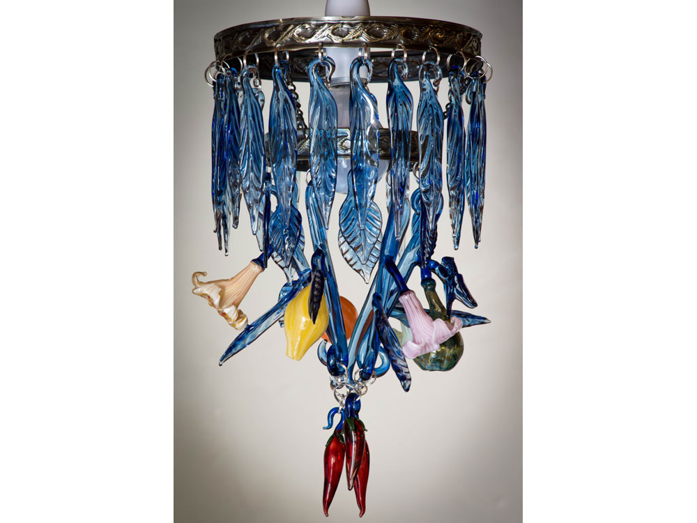handmade fruit, flowers and chillies glass chandelier