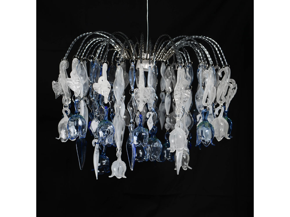 hand blown custom chandelier wtih campanula flowers