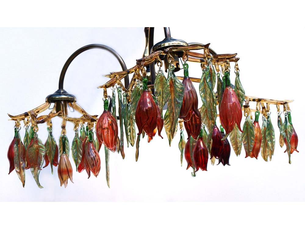 hand blown red glass chandelier