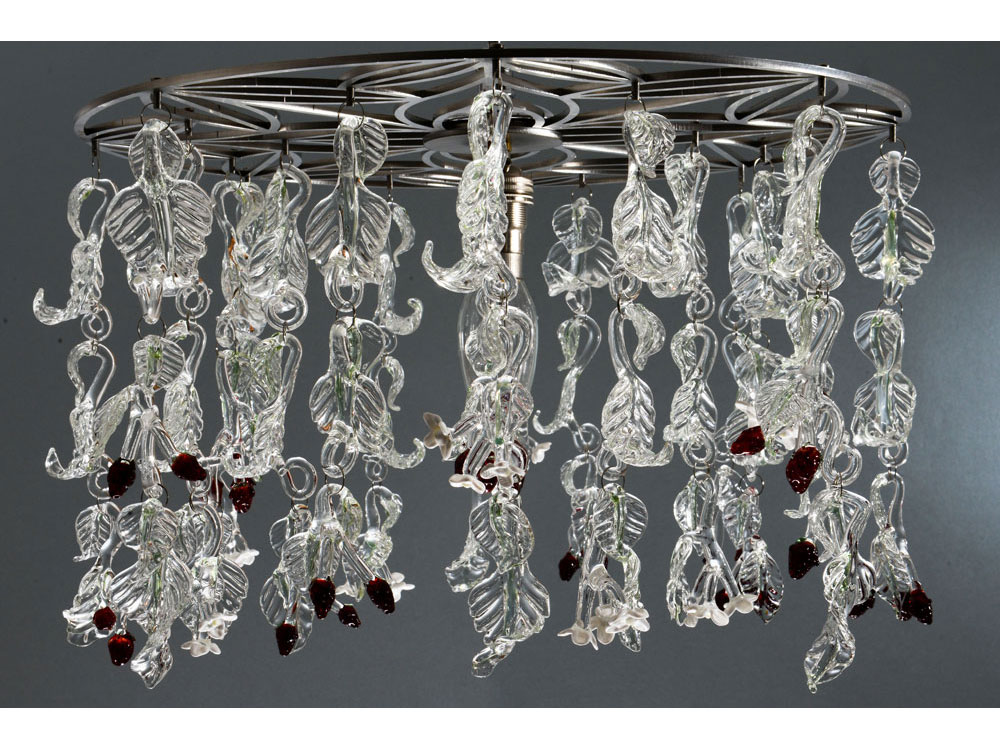 Glass chandelier with strawberry flowers and berries