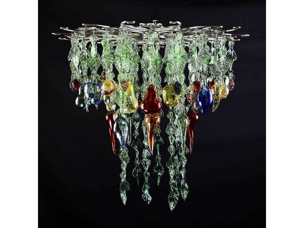 Glass chandelier market garden a flame with desire glass chandelier with green leaves blown fruit and berries aloadofball Gallery