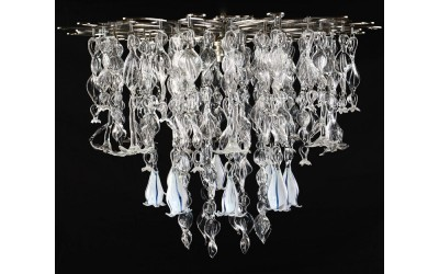 Edelweiss and gentians glass chandelier
