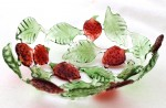 Handmade glass fruit bowl with strawberries