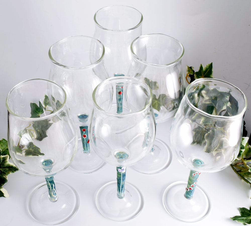 Wine glasses with blue flower stems