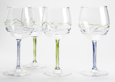 Landscape handblown wine glass