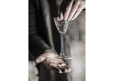 Hand blown textured damson gin glass