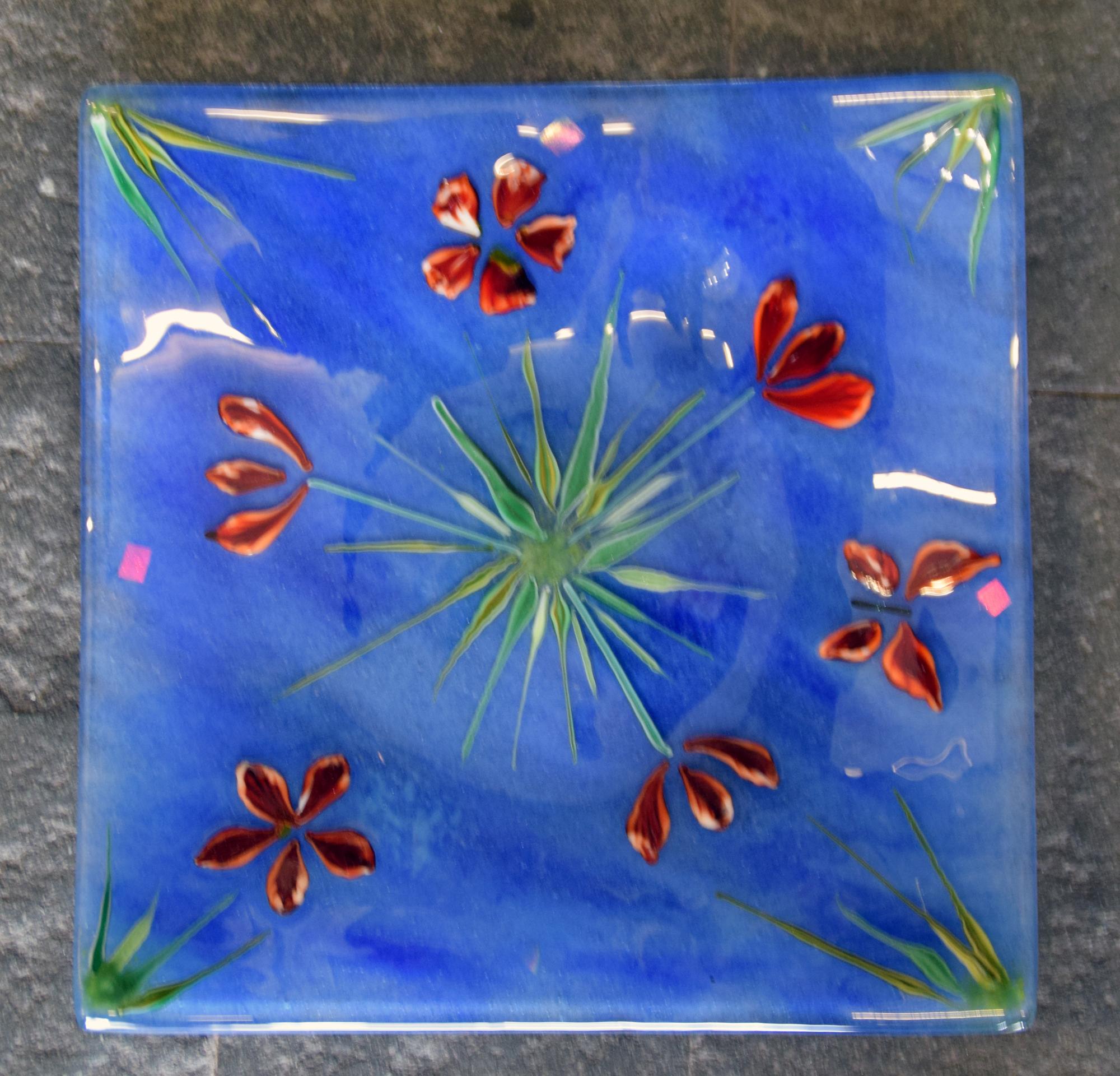 Square plate, blue