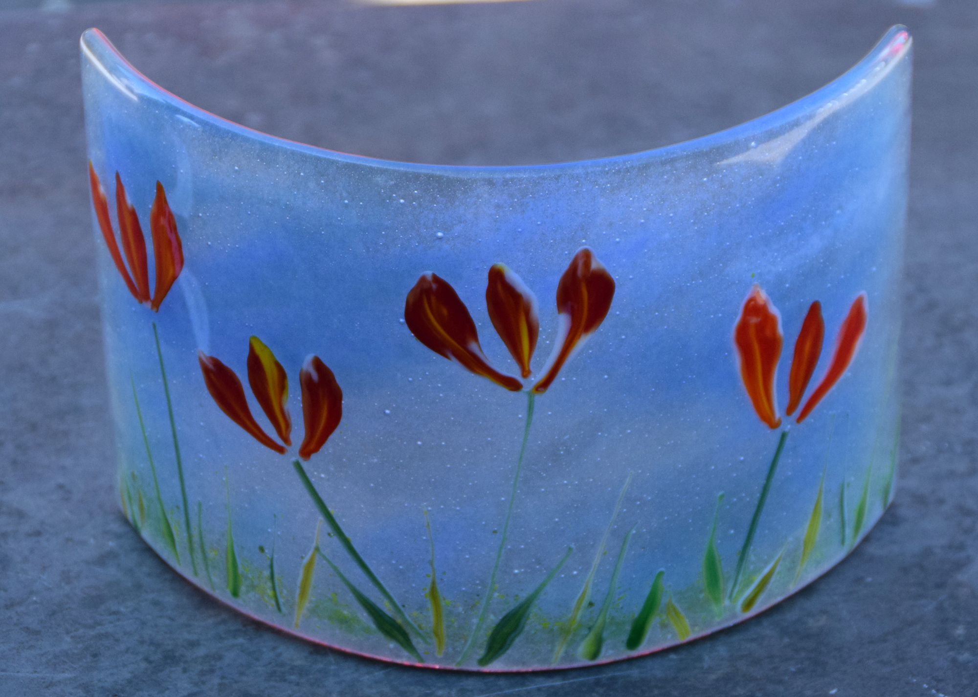 Fused glass curved panel, blue
