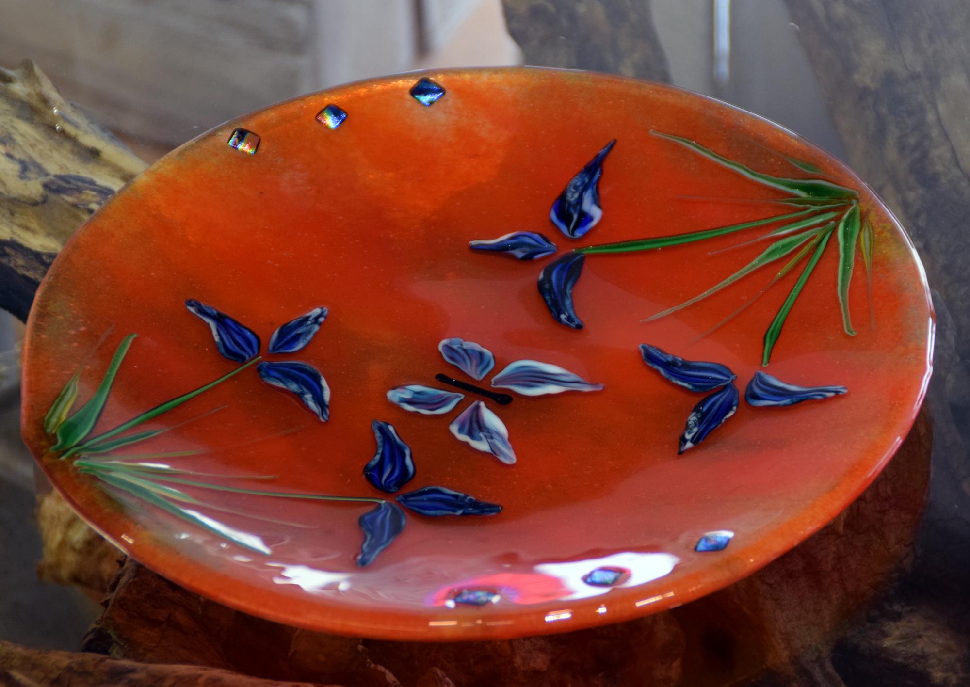 Orange bowl with iris