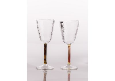 Textured wine glass with coloured stem