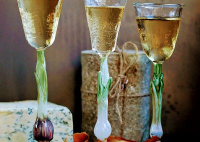 Spring onion liqueur glasses