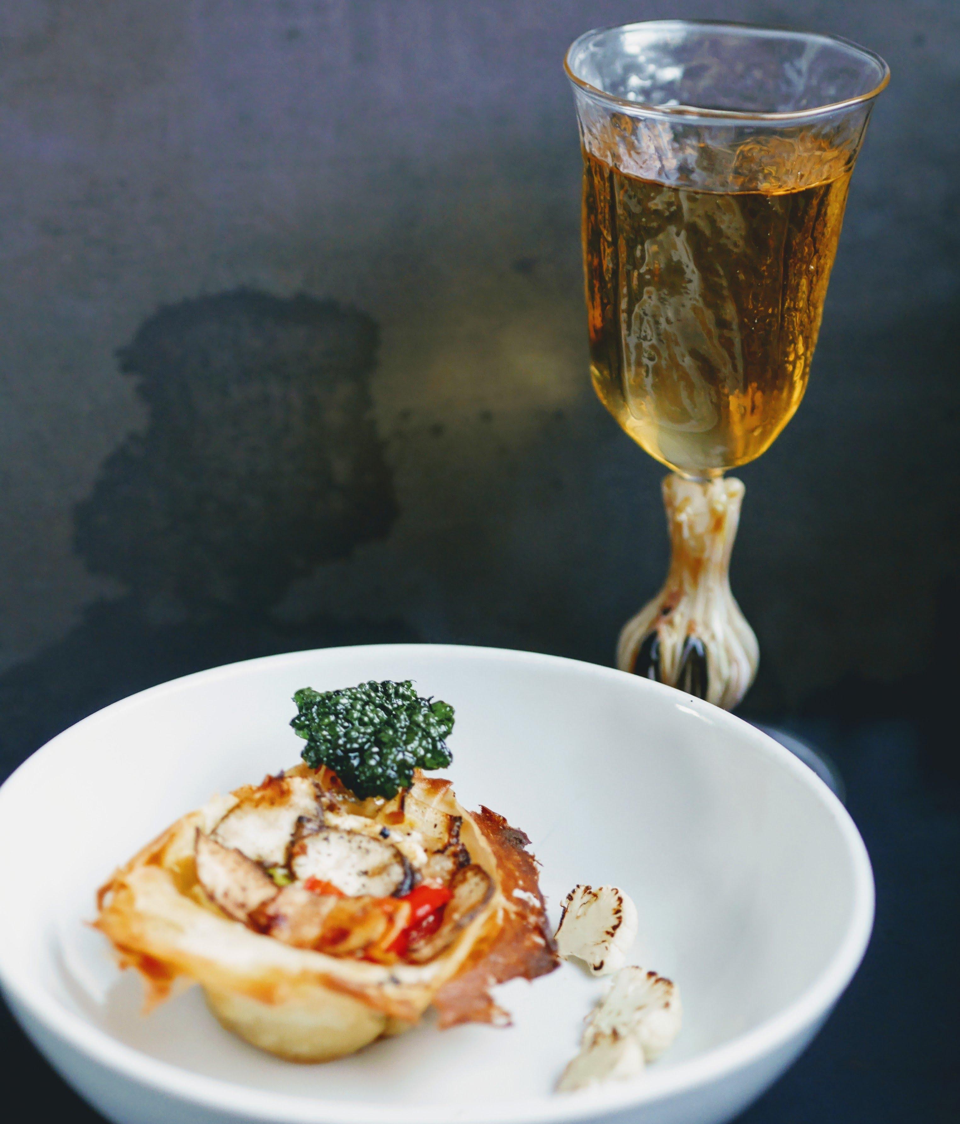 Black garlic stem wine glass