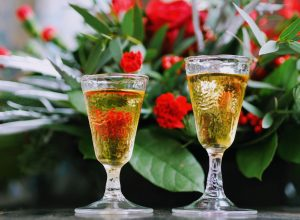 Tokaji wine in classic fern glasses