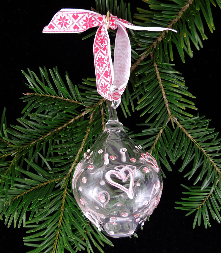 glass bauble with red and white hearts and dots