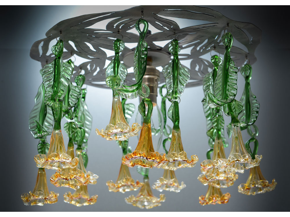 Glass chandelier with amber flowers