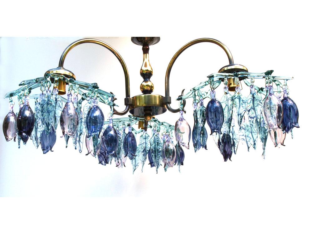 Three arm Glass chandelier in aqua blue, amethyst and deep purple