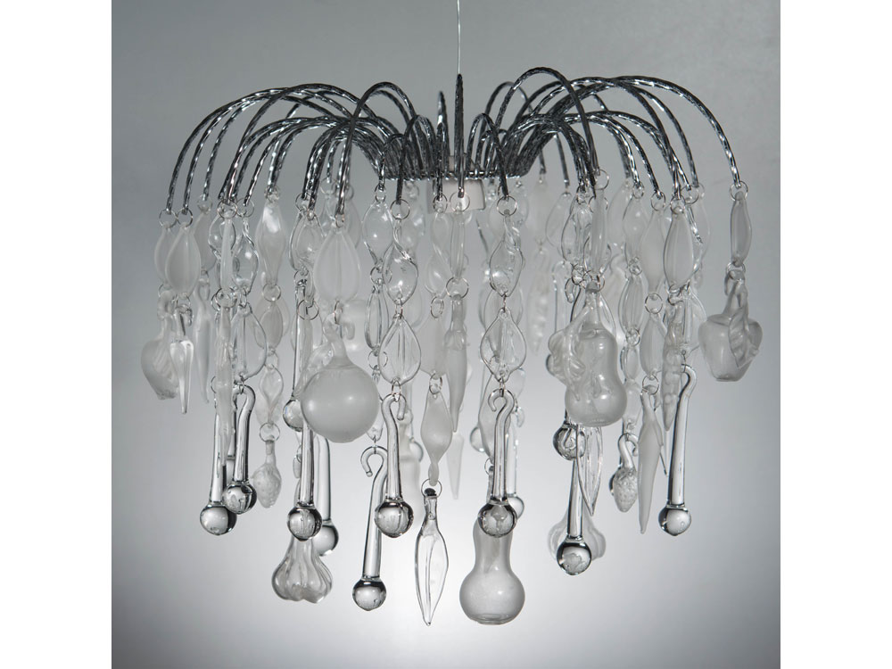 Domestic Bliss – Glass chandelier with fruit and veg