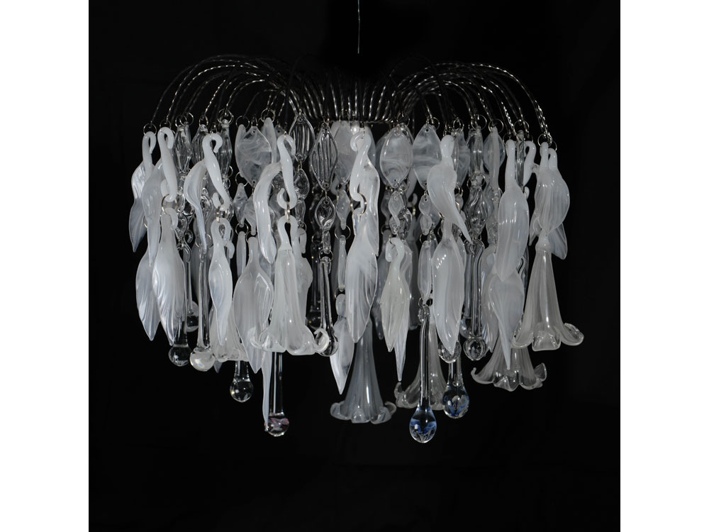 hand blown glass chandelier with lilies