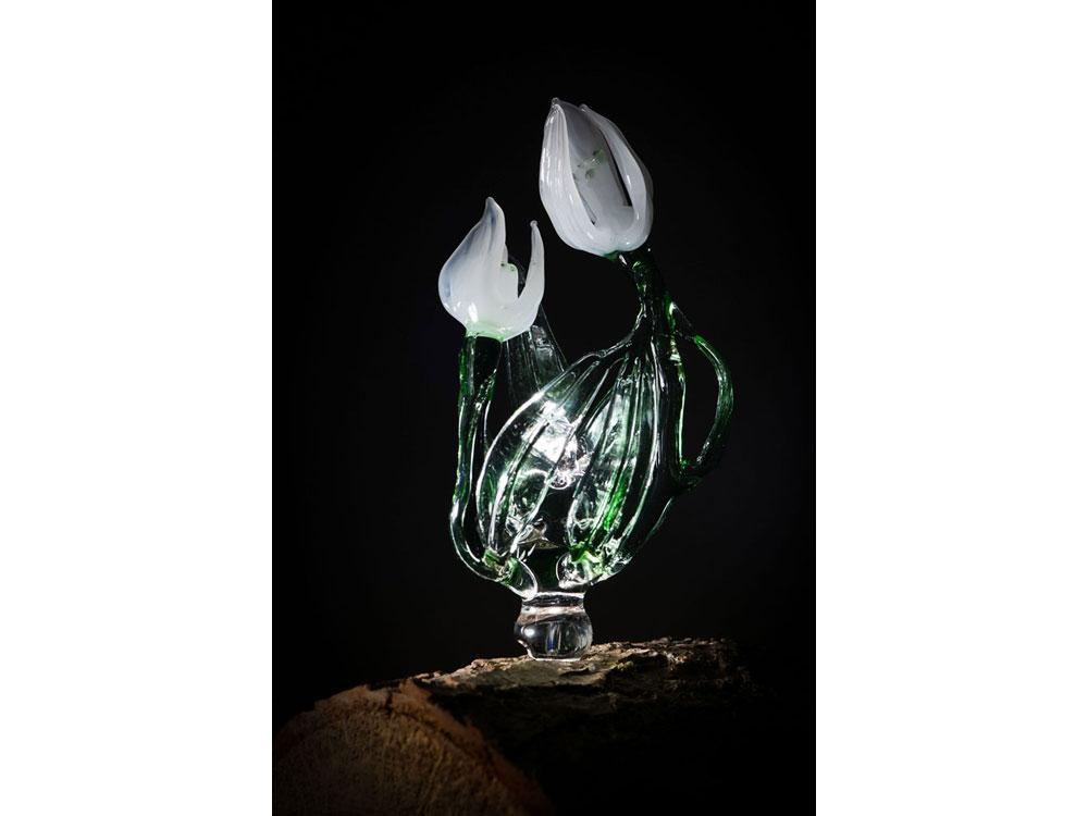 Glass log light sculptures