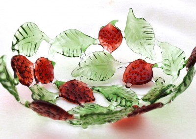 Handmade glass fruit bowl with strawberries