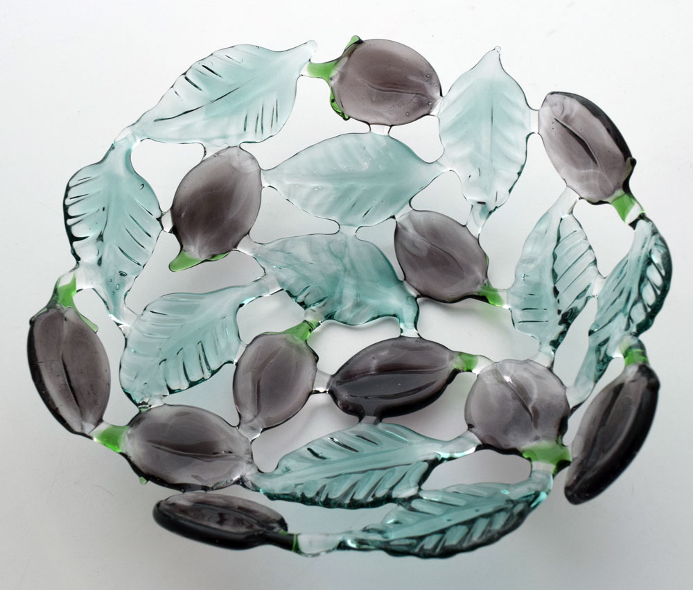 Glass bowl with damsons