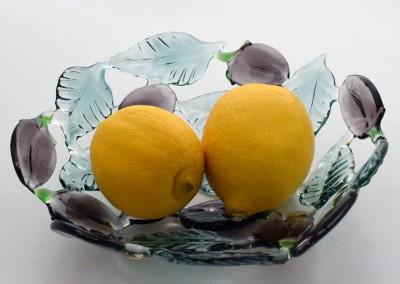 Handmade glass fruit bowl with damsons