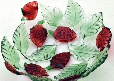 Glass fruit bowl – strawberries
