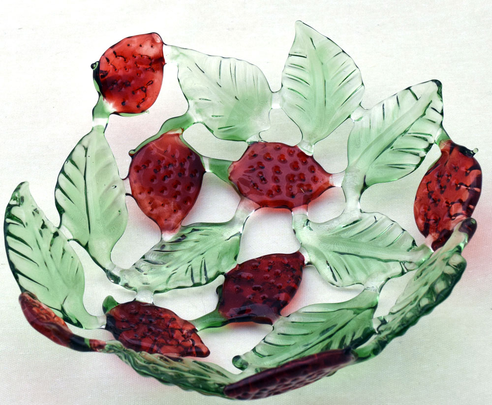 Glass fruit bowl with strawberries