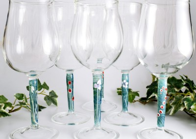 Set of wine glasses with flower stems
