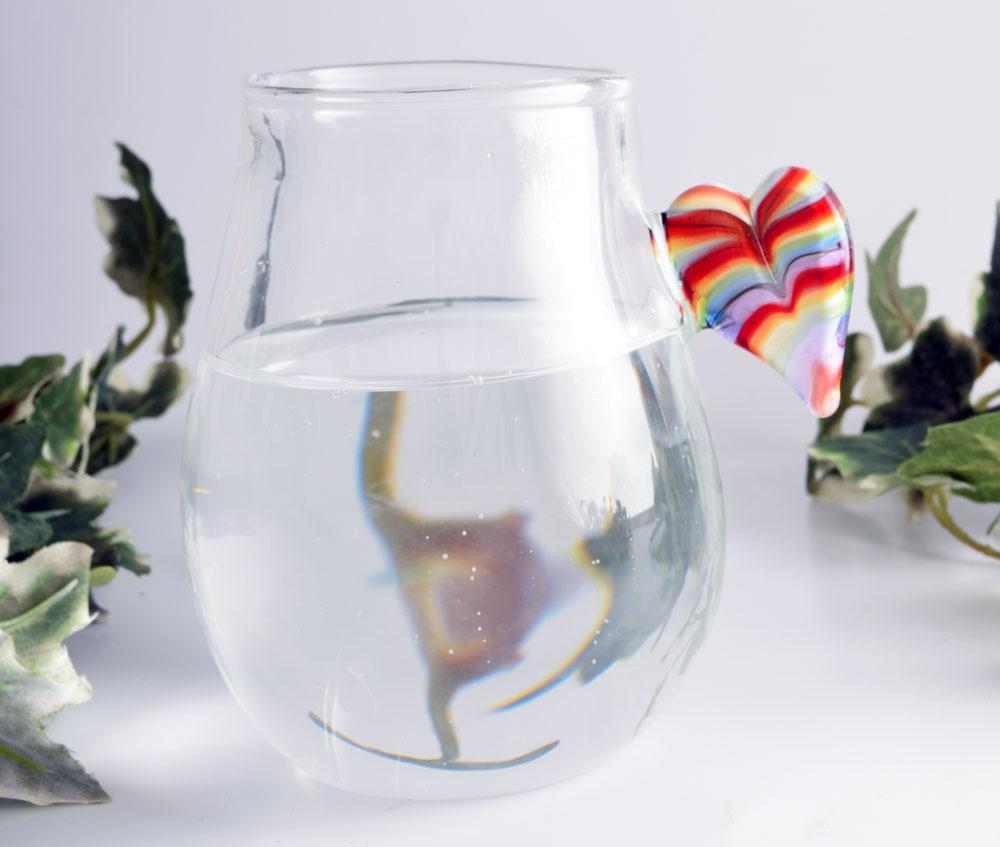 Glass tumbler with rainbow heart