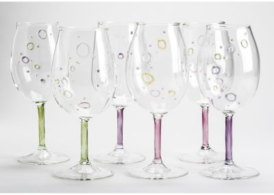 Bubble handblown wine glasses