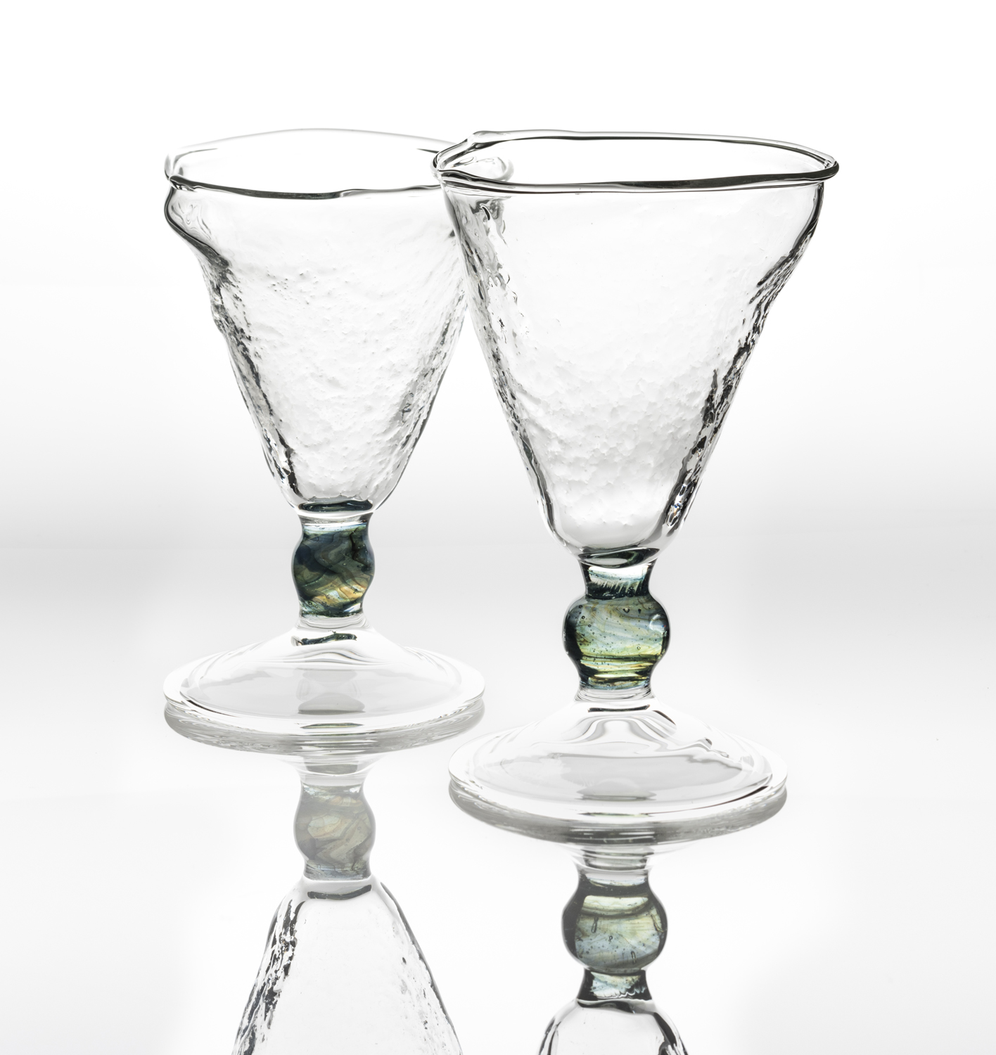 Footed textured wine glass
