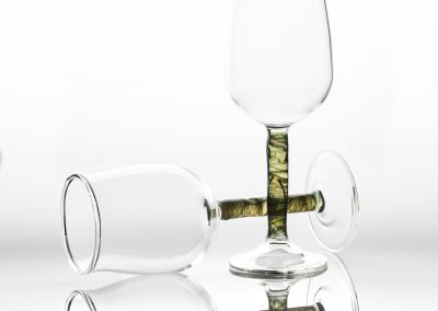Hand blown wine glasses, green/blue stem